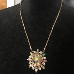 Faux opal costume jewelry necklace